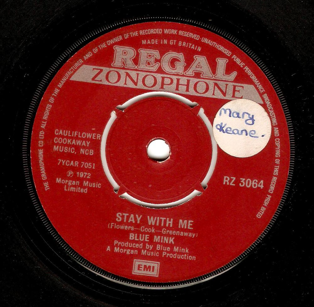 BLUE MINK Stay With Me Vinyl Record 7 Inch Regal Zonophone 1972..
